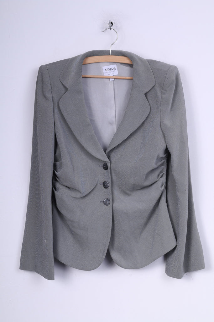 Armani Collezioni Womens 46 L Blazer Single Breasted Grey Shoulder Pads Jacket
