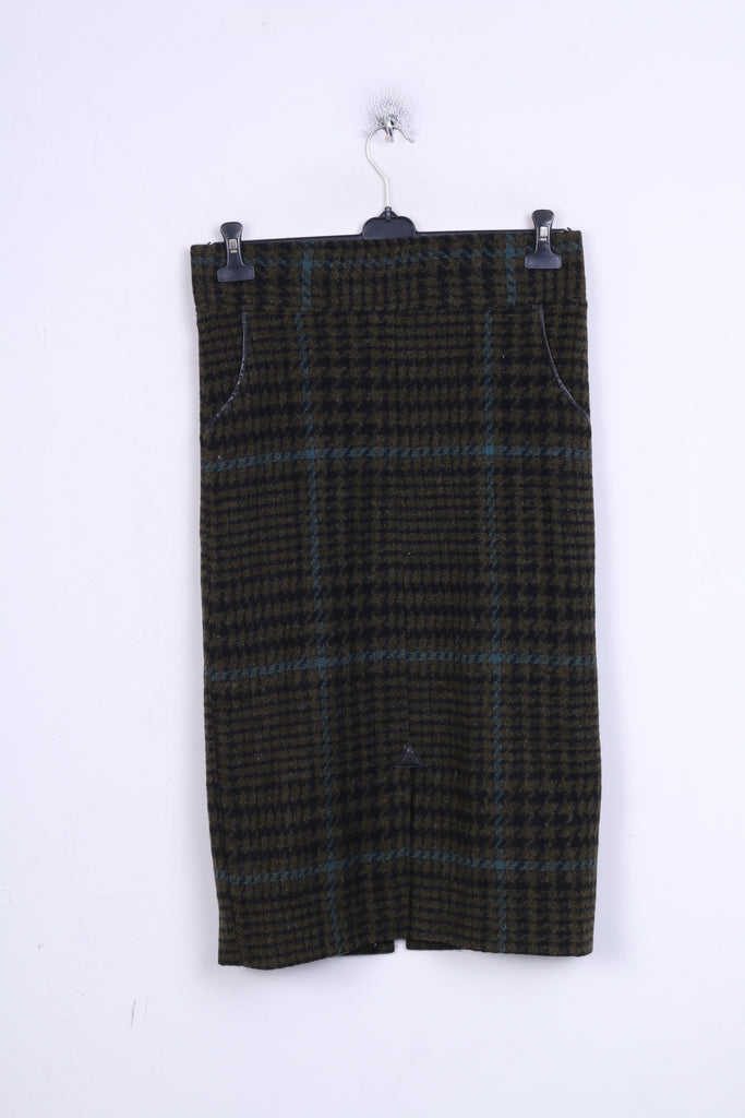Womens M/L Long Skirt Check Houndstooth