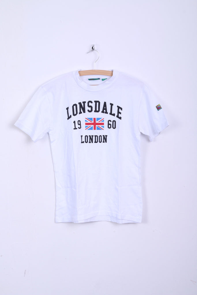 LONSDALE Mens S Shirt White Crew Neck Cotton 1960 London