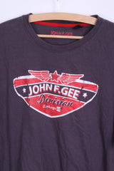 John F.Gee Mens 48/50 L T- Shirt Taupe Cotton Crew Neck