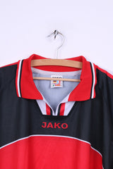 JAKO Mens XL Polo Shirt Red Vfl Rheinbach #5 Football Jersey Long Sleeve