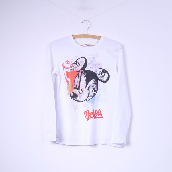 Disney Boys 158 12-13Age Shirt Graphic Mickey White Long Sleeve Cotton