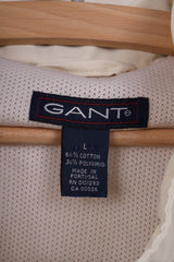 Gant Mens L Jacket Lightweight Beige Full Zipper Pocket Windcheater