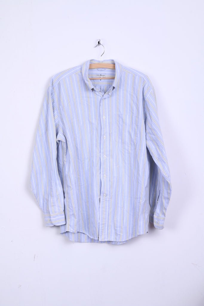 L.L.Bean Mens M Casual Shirt Light Blue Striped Button Down Collar