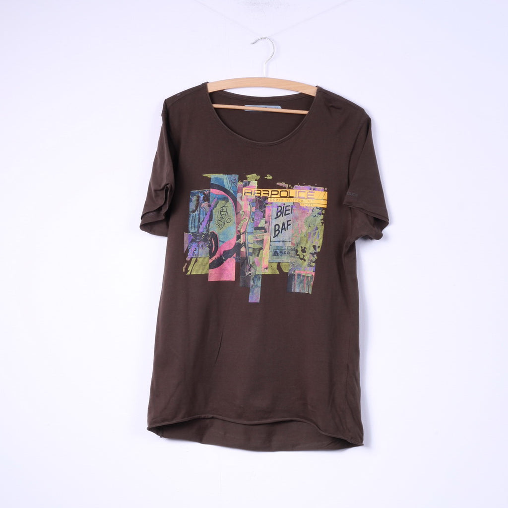 883 Police Mens S Graphic T-Shirt Brown Cotton Graffiti Top