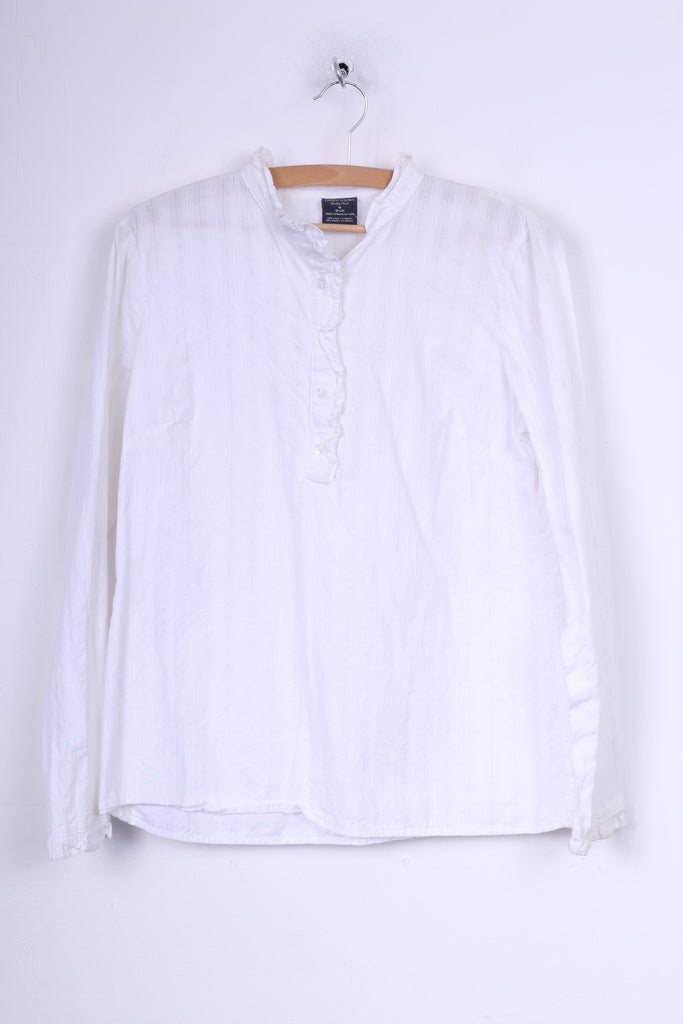 Faded Glory Womens M Casual Shirt Blouse Cotton White Top