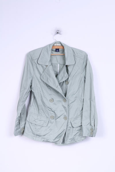 GAP Womens S Jacket Aqua Marine Cotton Double Breasted Blazer