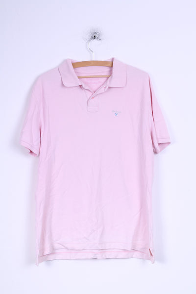 Barbour Mens XL Polo Shirt Pink Sporting Polo Detailed Buttons Cotton