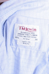 T. M. Lewin Mens 16.5/36 XXL Casual Shirt Check Blue Buttons Down Collar - RetrospectClothes