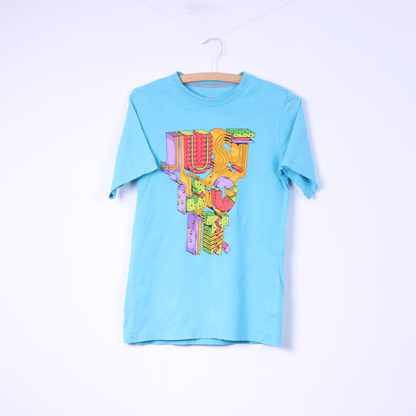 Nike Boys L 12-13Age T-Shirt Graphic Light Blue Cotton Top