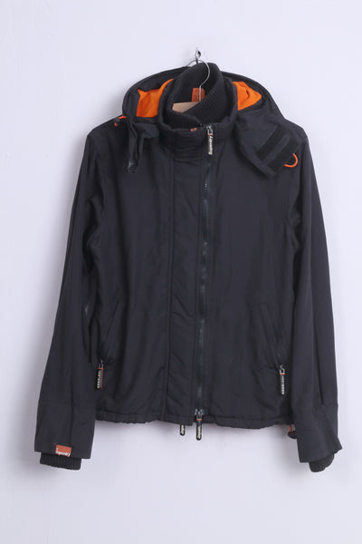 Superdry Womens L (M) Jacket Black Nylon Orange Details 3 Zippers Windcheater