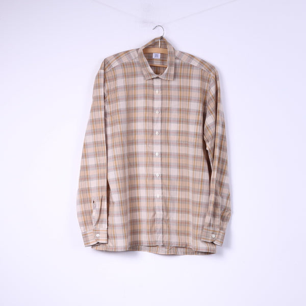 Globetrotter Mens M Casual Shirt Brown Check Long Sleeve Top