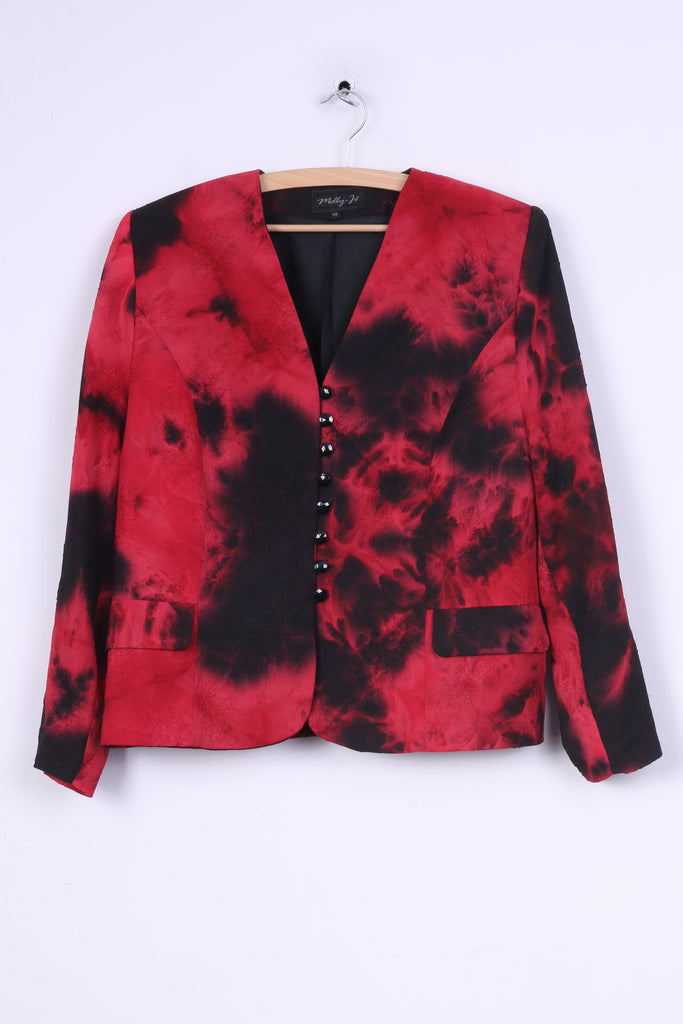Molly -Jo Womens 48 XL Jacket Blazer Shoulder Pads Single Breasted Red Black Dyed Vintage