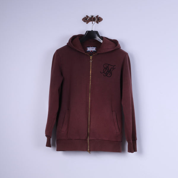 Sik Silk Mens S Sweatshirt Burgundy Cotton Zip Up Hooded Sportswear Top