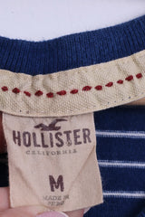 Hollister California Womens M T-Shirt Blue Striped Cotton V Neck Marine Top