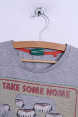 Next Mens M (S) T-Shirt Grey Cotton Graphic 7 Up Seven Up Drink