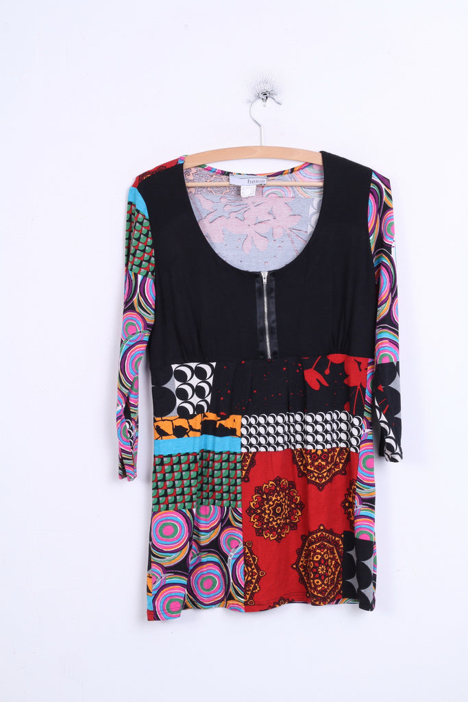 Heine Womens 10/12 M Shirt Tunic Baby Doll Black Colorful Patterned - RetrospectClothes