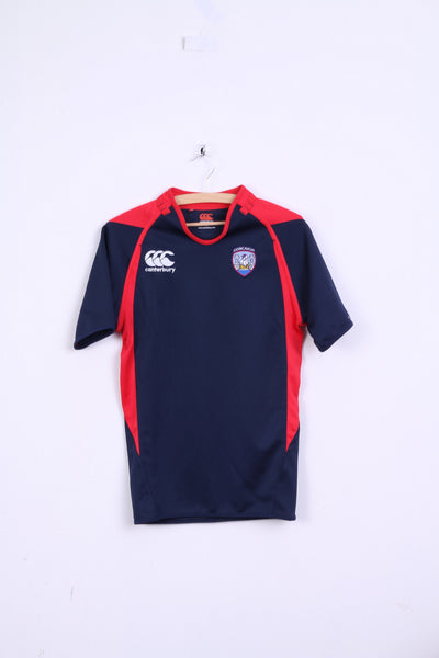 Canterbury Mens S Shirt Rugby Navy Red Corcaigh Slim Fit Sport