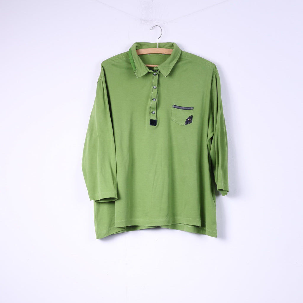 Womens 50 2XL Polo Shirt Green Buttons Detailed 7/8 Sleeve Top Cotton