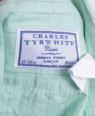Charles Tyrwhitt Mens 15/38 M Formal Shirt Check Green Jermyn Street London Cufflinks - RetrospectClothes