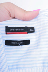 Pierre Cardin Mens XL Casual Shirt Striped Regular Fit Short Sleeve Summer - RetrospectClothes