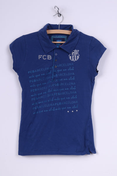 FC Barcelona Womens L Polo Shirt Graphic Blue Summer Top Short Sleeve Cotton Football Club FCB