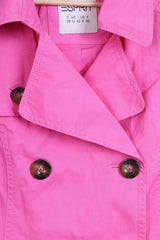 ESPRIT Womens 12 40 Trench Double Breasted Cotton Pink - RetrospectClothes