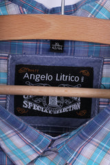 Angelo Litrico C&A Mens XL Casual Shirt Cotton Check Short Sleeve Blue