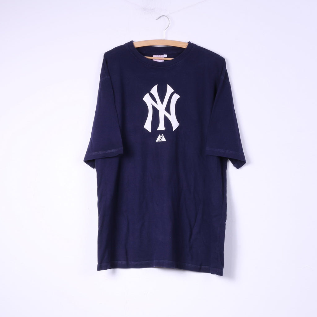 Majestic Athletic New York Yankees Mens 2XL T-Shirt Navy Cotton Crew Neck Top