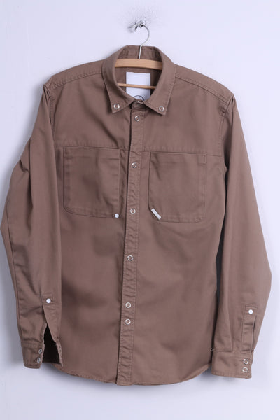 HUMOR Mens M Casual Shirt Brown Cotton Long Sleeve Popper Buttons