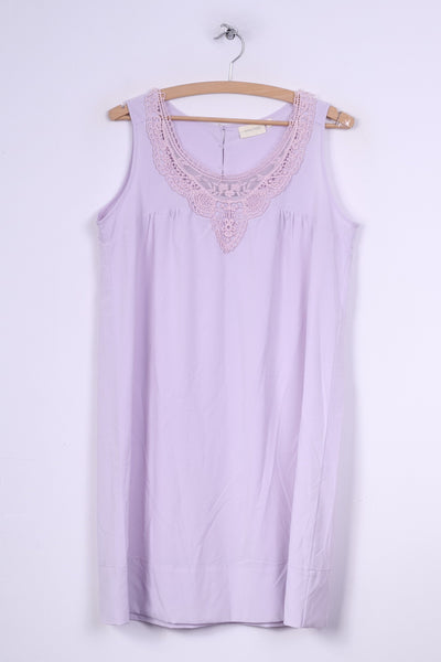 Marc Lauge Jeans Womens M Midi Dress Lilac Sleeveless Lace Collar