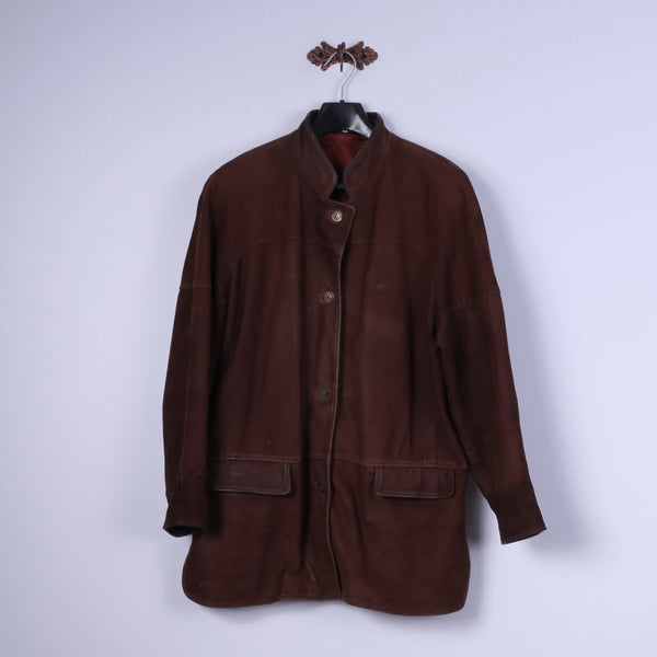 REWARD London Womens L Jacket Brown Leather Single Breasted Shoulder Pads