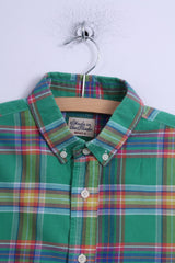 Green Effort Mens S Casual Shirt Green Cotton Checkered Button Down Collar