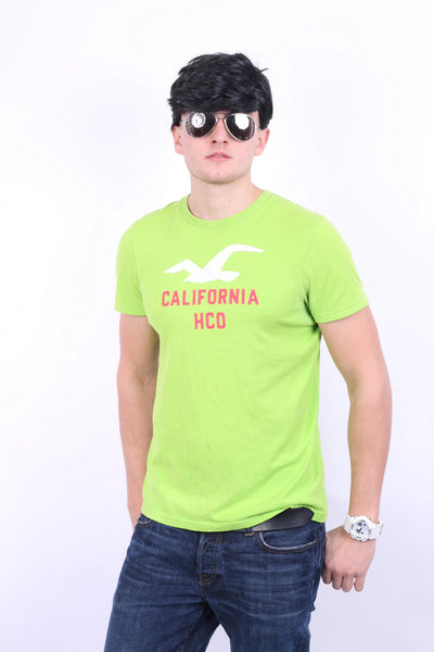 Hollister California Mens L Shirt Green Crew Neck Cotton Summer - RetrospectClothes