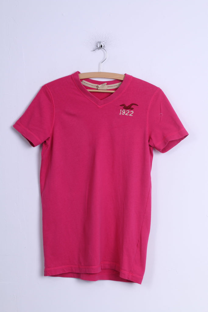 Hollister California Womens S Shirt Pink Cotton Stretch V Neck Long Fit Top