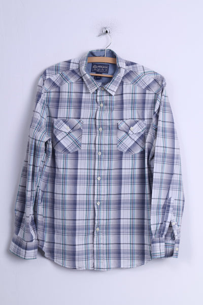 American Rag Mens L Casual Shirt Blue Cotton Checkered Long Sleeve Slim Fit