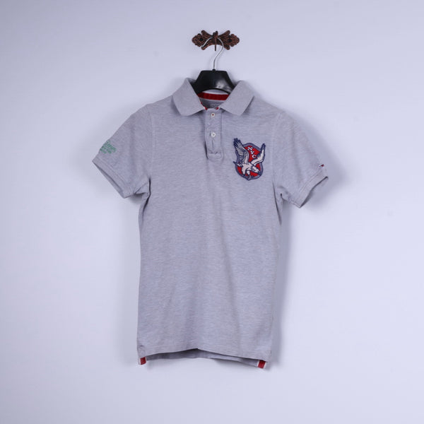 Hilfiger Denim Mens M (XS) Polo Shirt Grey Cotton NYC Slim Fit Top