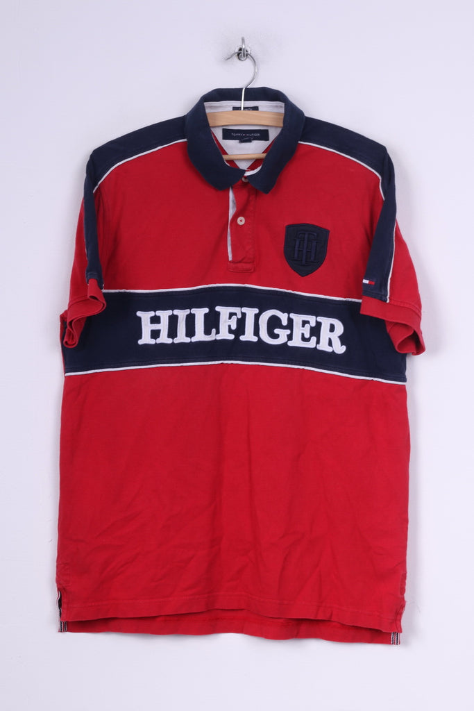 Tommy Hilfiger Mens L Polo Shirt Custom Fit Coupe Sur Mesure Short Sleeve Red Cotton