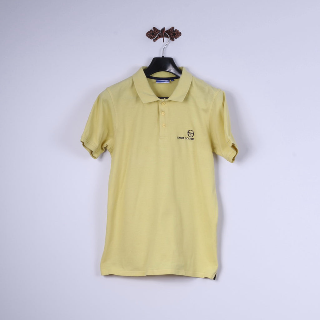 Sergio Tacchini Mens M Polo Shirt Yellow Cotton Classic Detailed Buttons Top