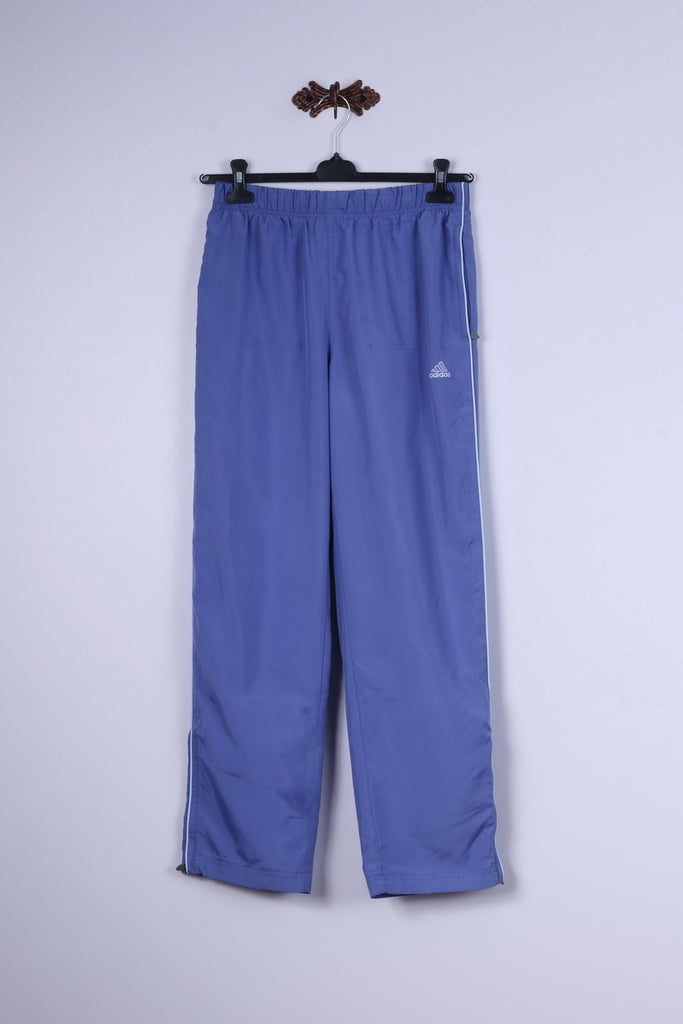 Adidas Womens 12 38 M Trousers Blue Sportswear Bottoms Two Pockets Gym Pants