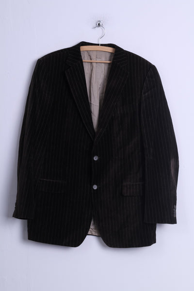Daniel Hechter Mens 54 XL Jacket Shiny Brown Striped Cotton Single Breasted Blazer