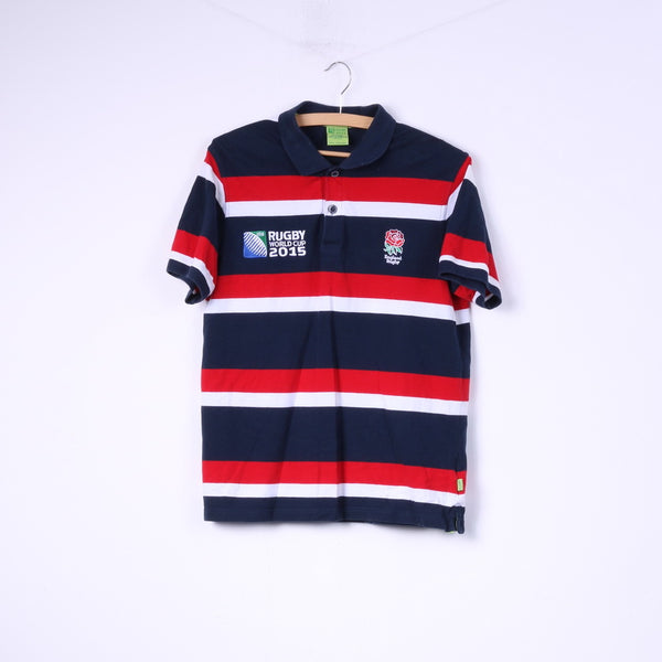 Rugby World Cup 2015 England Rugby Mens M (S) Polo Shirt Striped Cotton Top