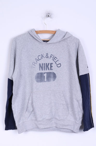 Nike Boys L 152 12-13 age Sweatshirt Grey Cotton Hooded Kangaroo Pocket