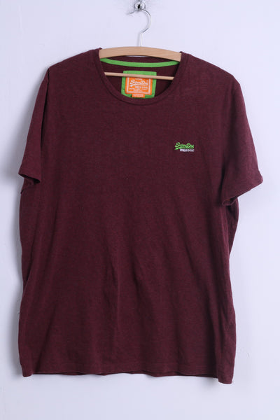 Superdry Mens XXL (L) T-Shirt Burgundy Cotton Crew Neck Japan Vintage Shirt