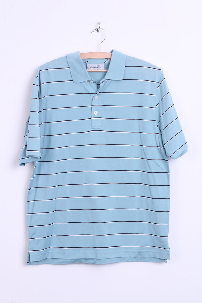 Ashworth Mens L Polo Shirt Striped Mint Color Cotton Top Jersey - RetrospectClothes