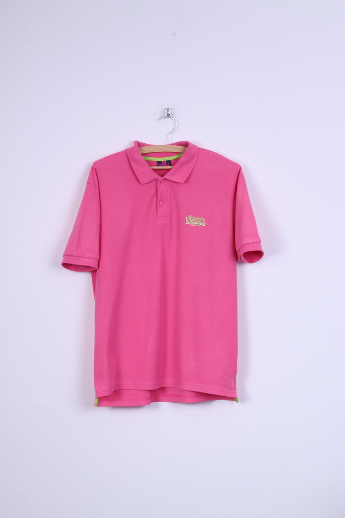 Lonsdale London Mens S Polo Shirt Pink Neon Cotton Short Sleeve Top