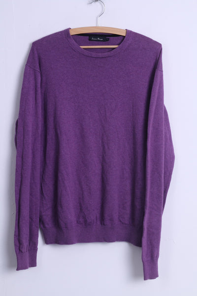 James Pringle Mens L Jumper Purple Crew Neck Cotton Plain Stretch Sweater