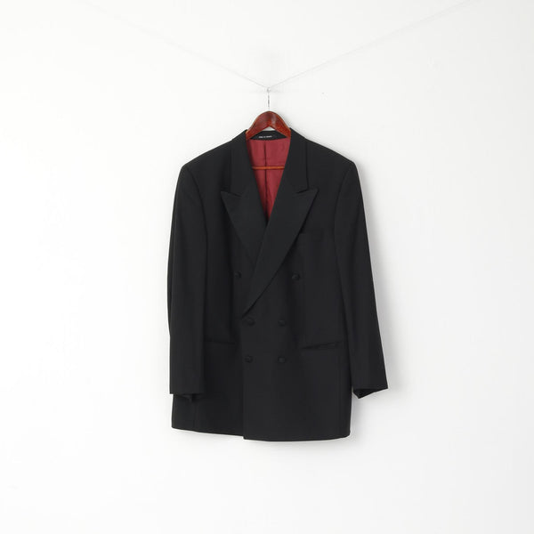 John Mc Bride Belfast Men 48 Blazer Black Wool Made in France Accent Double Breasted Top