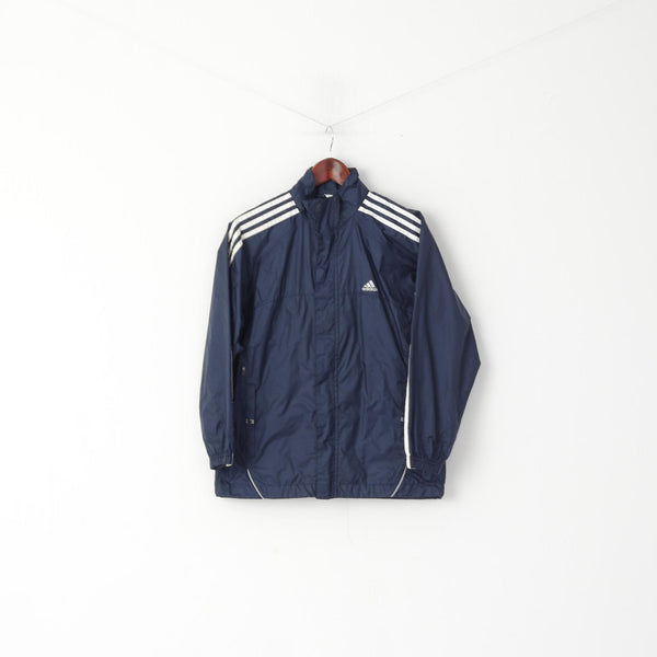 Adidas Boys 152 12 Age Jacket Navy Nylon Waterproof Hidden Hood Lightweight Top