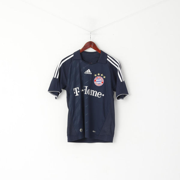 Adidas Boys 16 age 164 Shirt Navy Bayern Football Club Munich Jersey Top